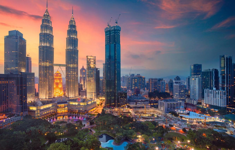 Фото обои ночь, небоскребы, панорама, Малайзия, Куала Лумпур