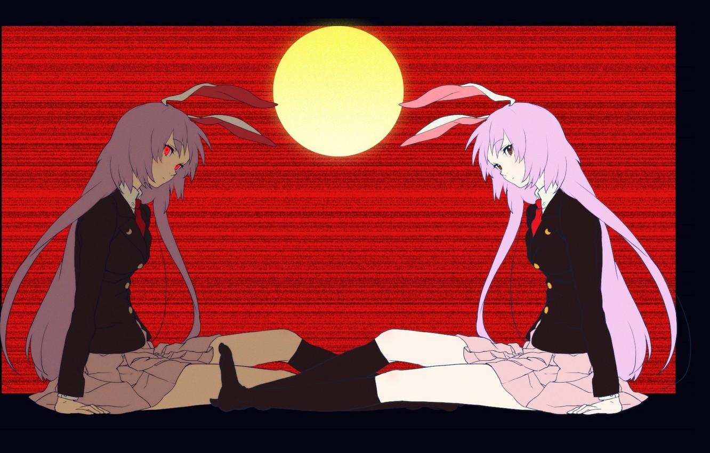 Фото обои полнолуние, красные глаза, альтер эго, кровавый туман, проект Восток, унылая девочка, Reisen Udongein Inaba, touhou …