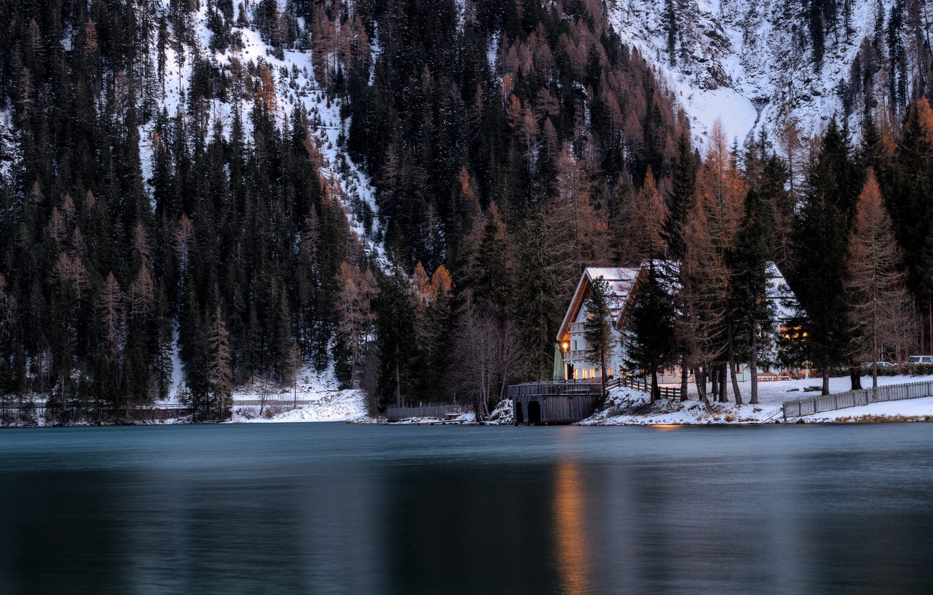 Фото обои lights, house, forest, Winter, trees, landscape, nature, water, lake, snow, evening