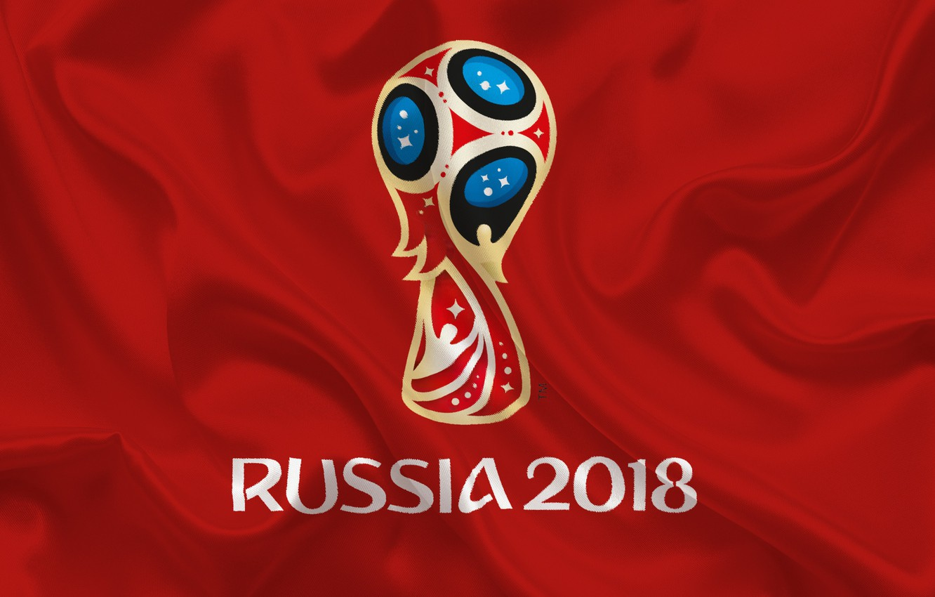 Фото обои sport, logo, Russia, football, soccer, World Cup, FIFA, red background, FIFA World Cup, official logo, …