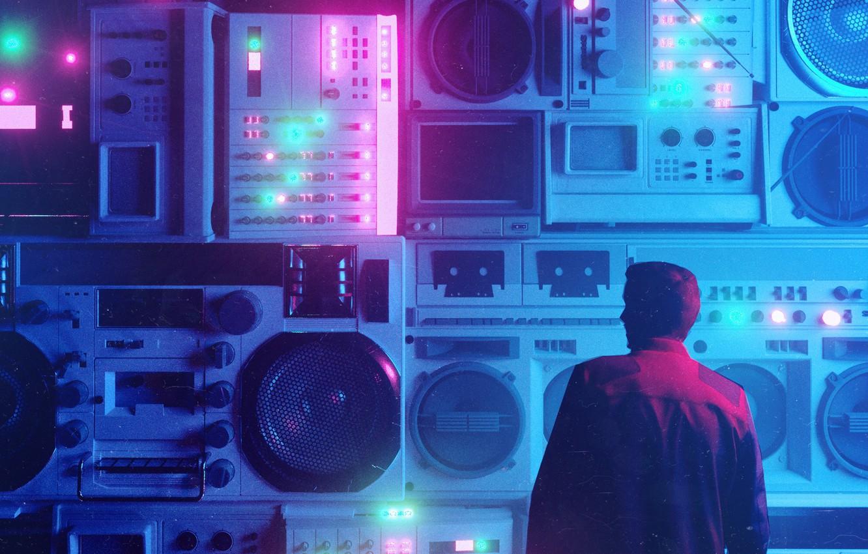 Фото обои Музыка, Фон, Мужчина, Art, 80s, Neon, Рендеринг, Illustration, 80's, Synth, Retrowave, Synthwave, New Retro Wave, ...