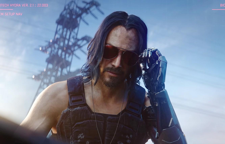 Фото обои очки, Киану Ривз, протез, Keanu Reeves, Cyberpunk 2077, CD PROJEKT RED, CD Project Red, Джонни …
