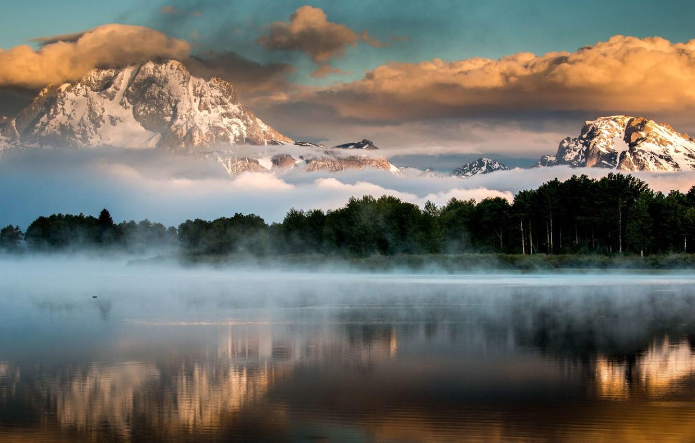 Фото обои USA, Wyoming, sky, trees, landscape, nature, sunset, mountains, clouds, lake, snow, mist, Grand Teton National …
