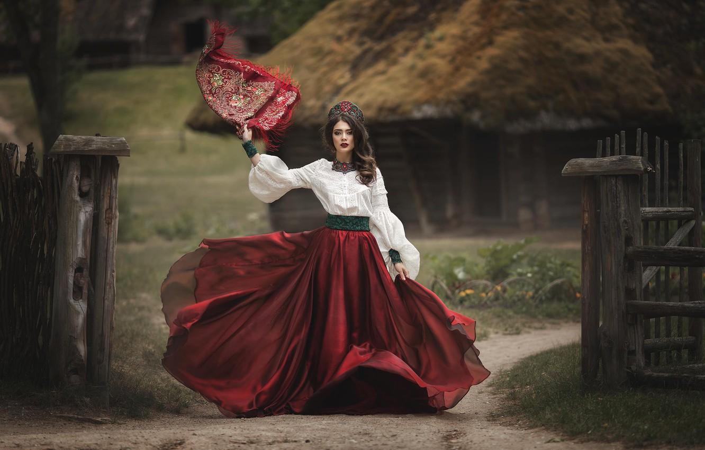 Фото обои девушка, стиль, юбка, наряд, блузка, шаль, кокошник, Марина Затонская, Alina Mur