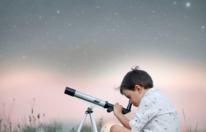 Фото обои небо, трава, природа, звёзды, мальчик, телескоп, ребёнок, Larisa Korsikova