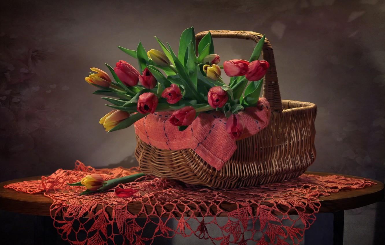 Фото обои фон, корзина, тюльпаны, корзинка, салфетка