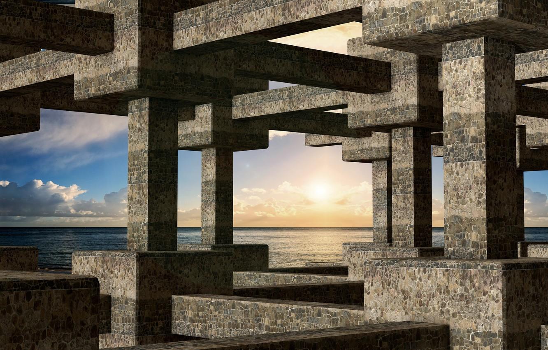 Фото обои море, небо, облака, колонны, перекрытия