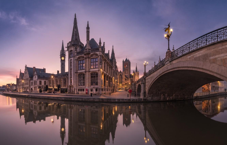 Фото обои morning, Belgium, reflection, Gent