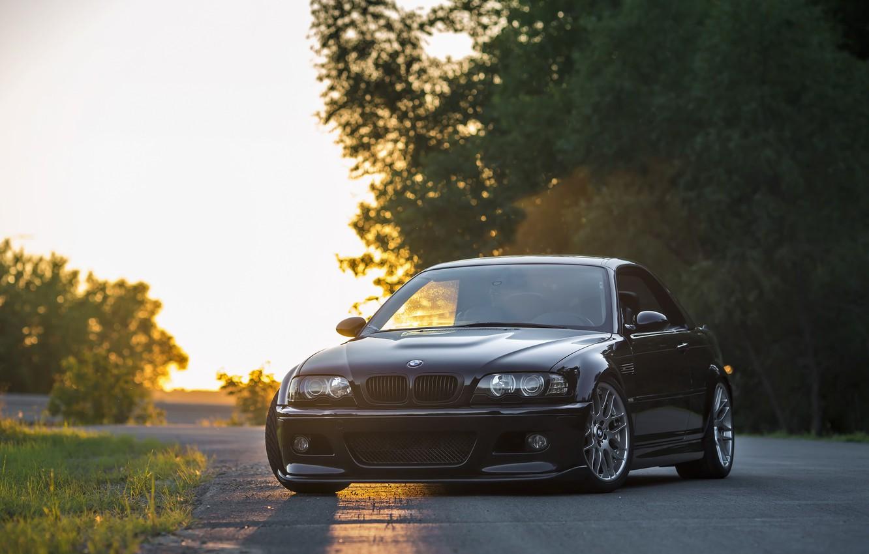 Фото обои BMW, Classic, Black, Sunset, E46, Evening