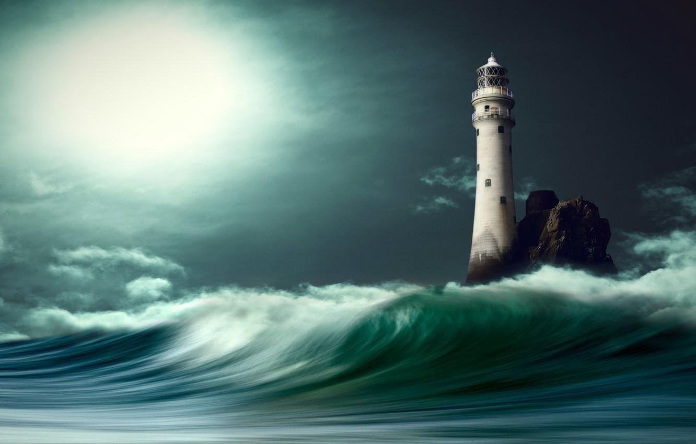 Фото обои море, облака, свет, ночь, графика, волна, маяк, digital art, nikos Bantouvakis