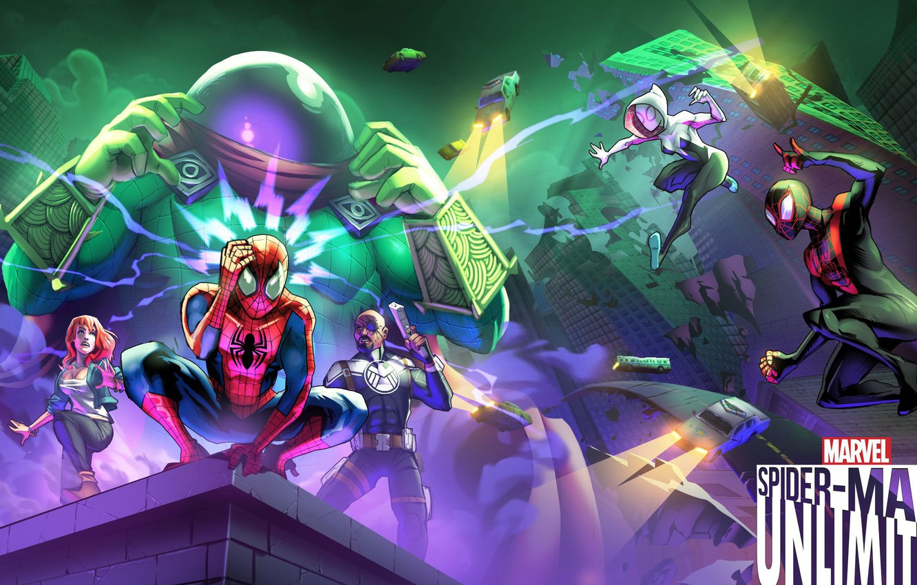 Фото обои game, android, Marvel, IOS, spider-man unlimited, spider-verse, Gameloft