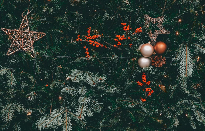 Фото обои украшения, ягоды, праздник, шары, звёзды, Рождество, Новый год, ёлка, шишки