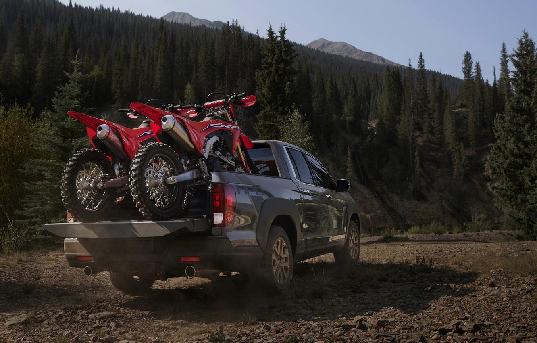 Фото обои мотоциклы, Honda, кузов, вид сзади, пикап, 2020, Ridgeline, 2021
