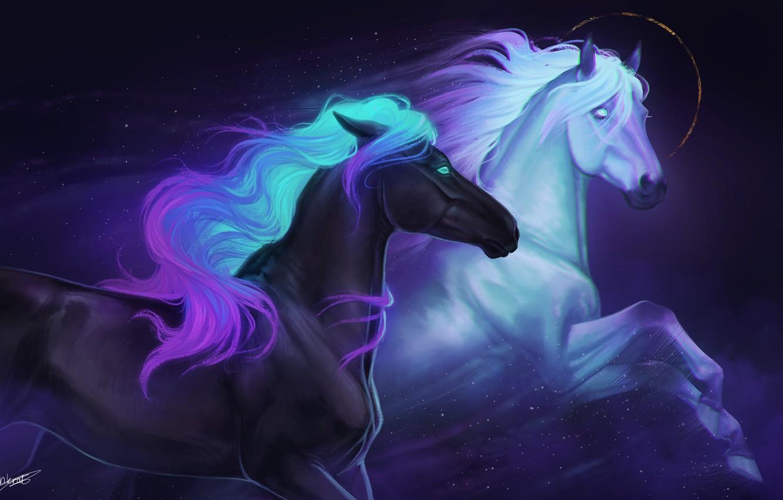 Фото обои рисунок, лошади, красивые