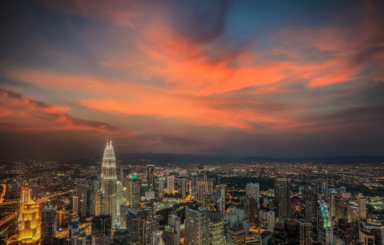Фото обои небо, город, зарево, Малайзия, Куала-Лумпур