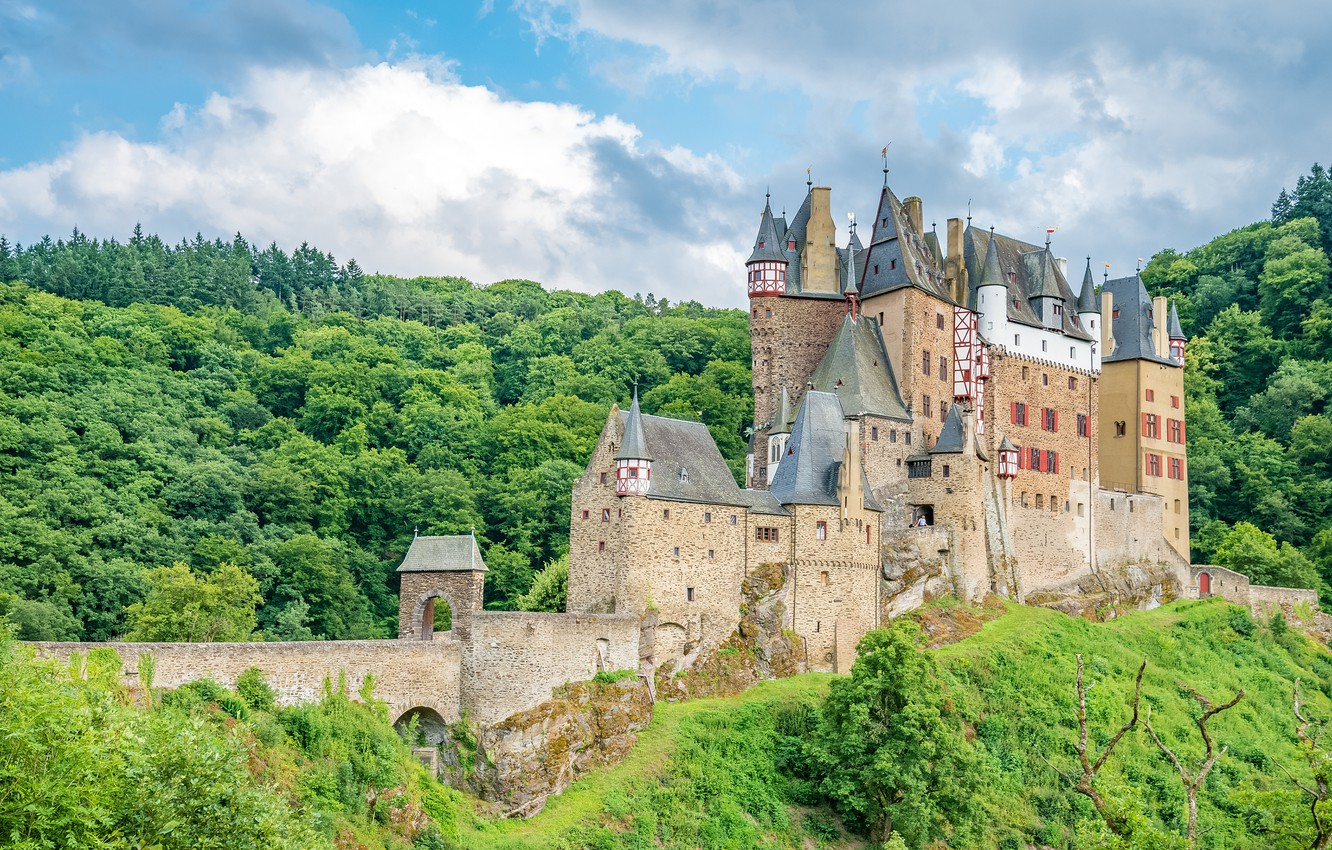 Фото обои лес, замок, Германия, архитектура, Germany, castle, ancient, древний, medieval, Eltz
