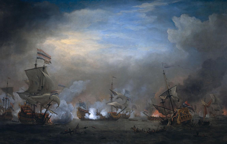 Обои масло, Виллем ван де Велде Младший, парус, холст, Эпизод Четырехдневного Сражения, картина, корабль. Разное foto 9