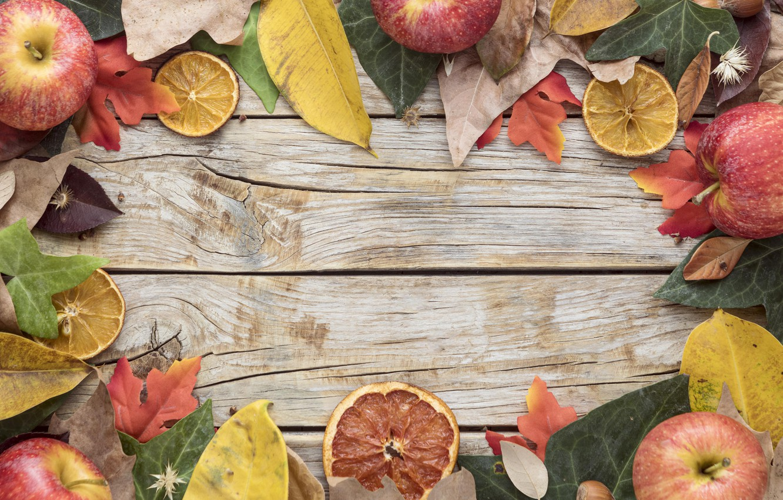 Фото обои осень, листья, фон, доски, colorful, урожай, фрукты, клен, wood, autumn, leaves, fruits, apples, maple