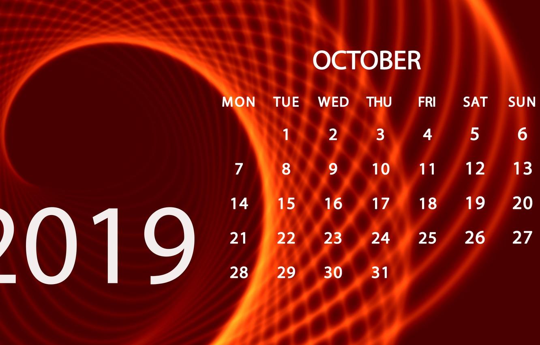 Фото обои октябрь, календарь, 2019