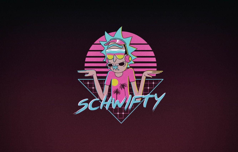 Фото обои Минимализм, Рисунок, Арт, Neon, Rick, Рик и Морти, Synth, Retrowave, Rick Sanchez, Synthwave, New Retro ...