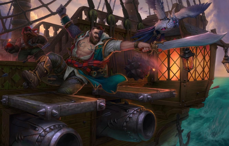 Фото обои море, корабль, фэнтези, арт, пират, пушка, Pirate, Eugene Rudakov, абортаж