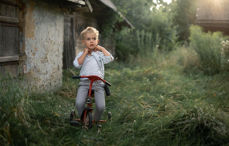 Фото обои велосипед, настроение, мальчик