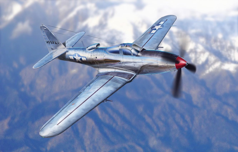 Фото обои art, airplane, aviation, p-63