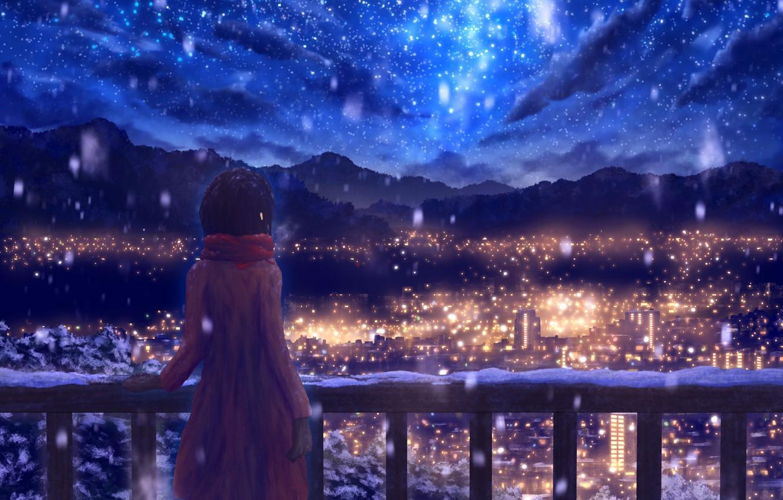 Фото обои зима, небо, снег, горы, ночь, город, рисунки, девочка