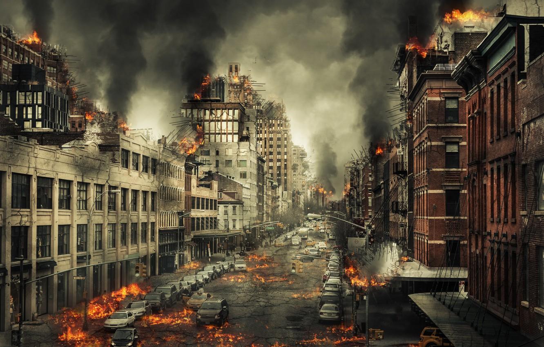 Фото обои город, пламя, улица, Армагеддон