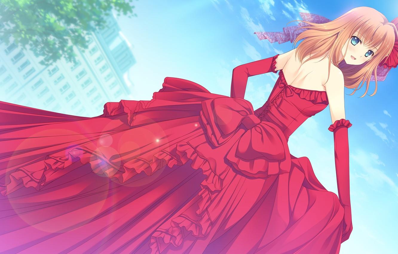 Фото обои взгляд, очарование, look, beautiful girl, красивая девочка, девушка в красном, аниме арт, charm, бальное платье, …