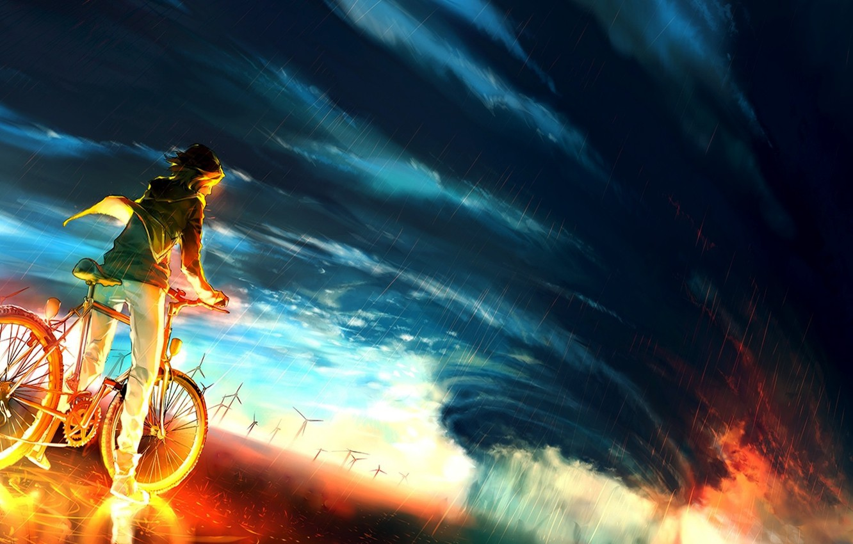Фото обои небо, велосипед, фон, огонь, буря, аниме, fire, парень, storm, anime, boy, colour, epic