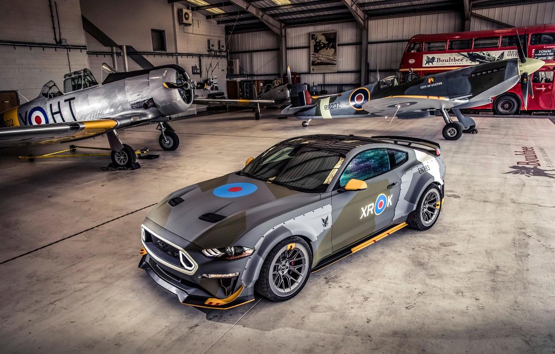 Фото обои Ford, ангар, RTR, 2018, Mustang GT, Eagle Squadron