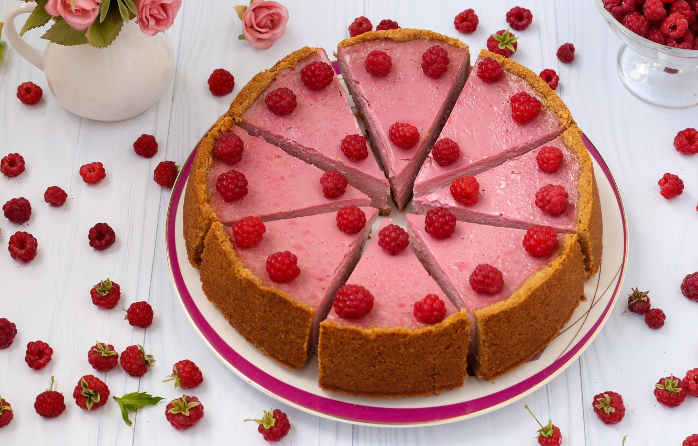 Обои торт, малина, кусок, чизкейк, ежевика. Еда foto 17