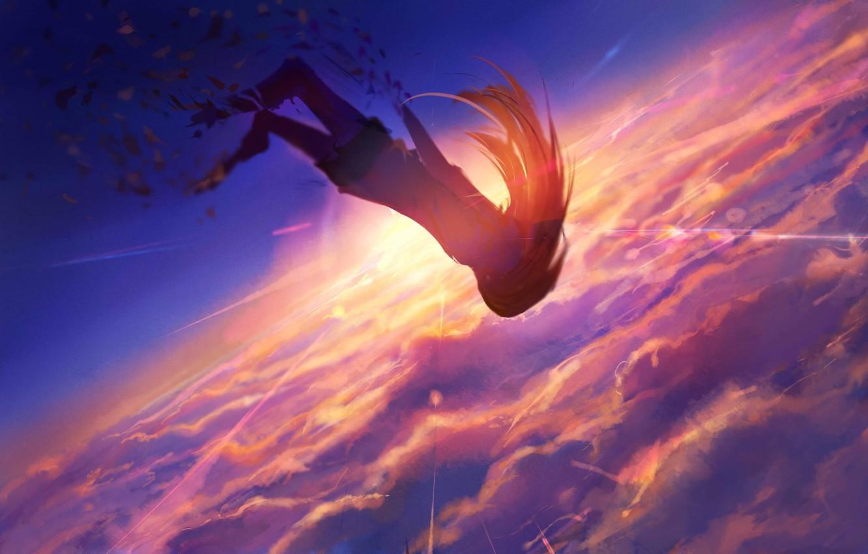 Фото обои небо, девушка, солнце, закат, падает