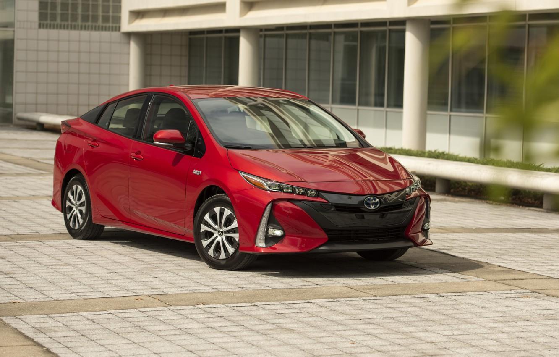Фото обои Toyota, красная, Prius, Prime, 2017–19