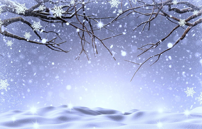 Фото обои зима, снег, деревья, снежинки, ветки, landscape, winter, snow, tree, snowflakes