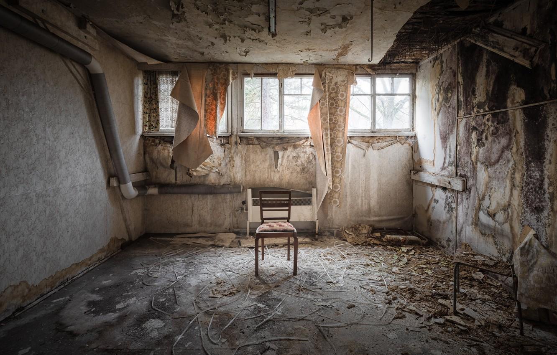 Фото обои комната, окно, стул, натурализм