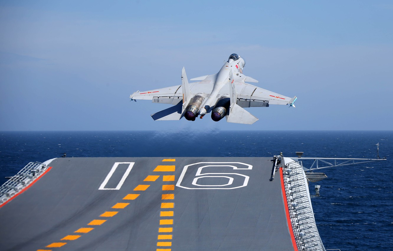 Фото обои Истребитель, Авианосец, ВМС КНР, Shenyang J-15