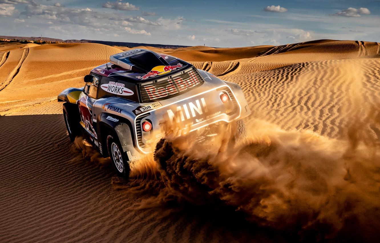 Фото обои Песок, Авто, Mini, Спорт, Машина, Автомобиль, 308, Rally, Dakar, Дакар, Дюны, Ралли, Дюна, Buggy, Багги, …