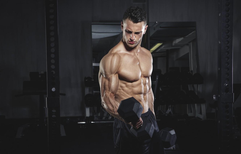 Фото обои поза, muscle, мышцы, тренировка, бицепс, gym, training, weight, Gym, dumbbells, biceps, bodybuilder, спорт зал