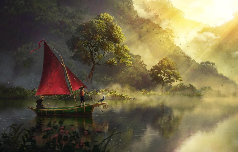 Фото обои Art, River, Artwork, Boat, Painting, Sailboat