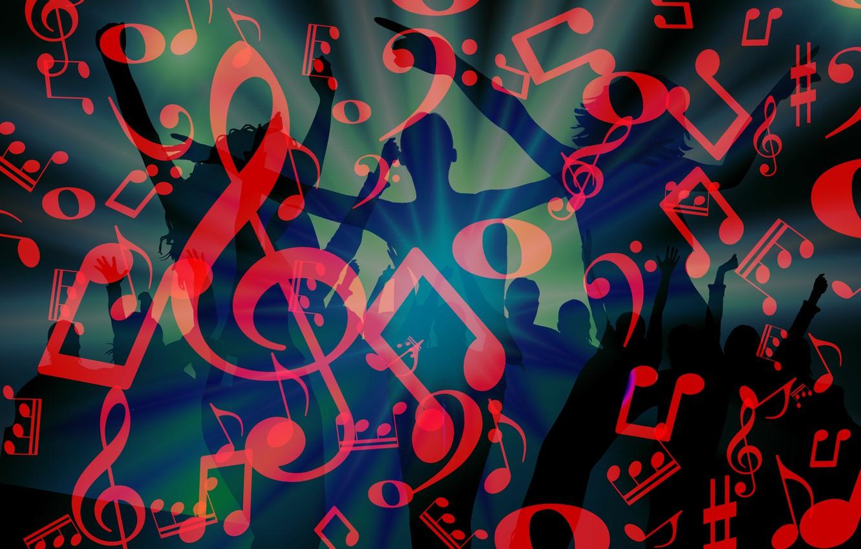 Фото обои ноты, музыка, танцы, дискотека