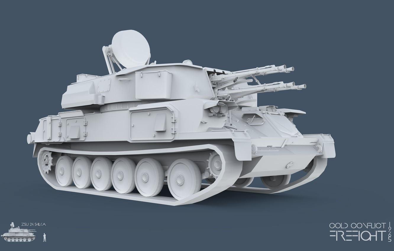 Фото обои 3ds max, зсу, CC Firefight 1985, keyshot, cold conflict, шилка, 23 4, ZSU-23-4 Shilka, Firefight …