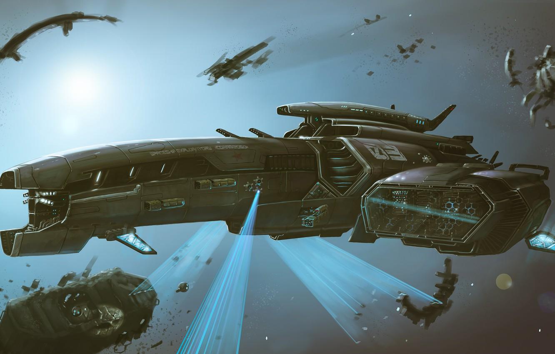 Фото обои Космос, Корабль, Fantasy, Space, Art, Космический Корабль, Фантастика, Spaceship, Обломки, Ship, Vehicles, Science Fiction, Spacecraft, ...