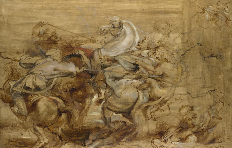 Фото обои животные, картина, баталия, Питер Пауль Рубенс, Peter Paul Rubens, Охота на Льва