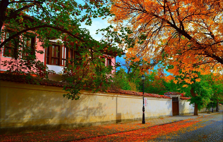 Фото обои Город, Осень, Дом, Улица, House, Fall, Autumn, Street, Town