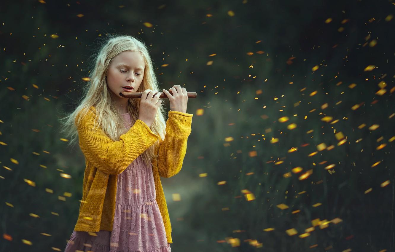 Фото обои природа, музыка, девочка