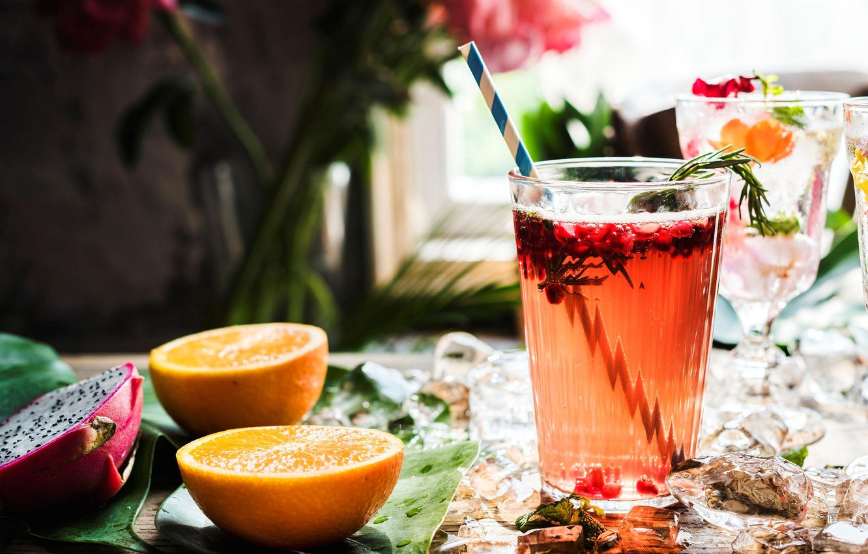 Фото обои лед, стакан, апельсин, напиток, фрукт дракона