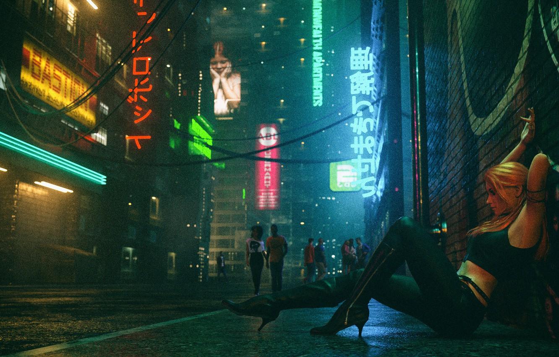 Фото обои Девушка, Ночь, Музыка, Улица, Люди, Фон, Neon, Club, Cyber, Cyberpunk, Synth, Retrowave, Synthwave, New Retro …