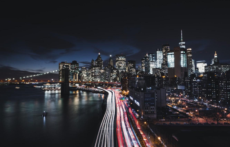 Фото обои city, lights, USA, bridge, night, Manhattan, New - York, skycrapers